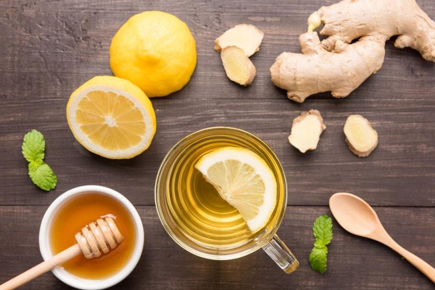 Switchel im Glas mit Ingwer, Honig und einer Zitronenscheibe