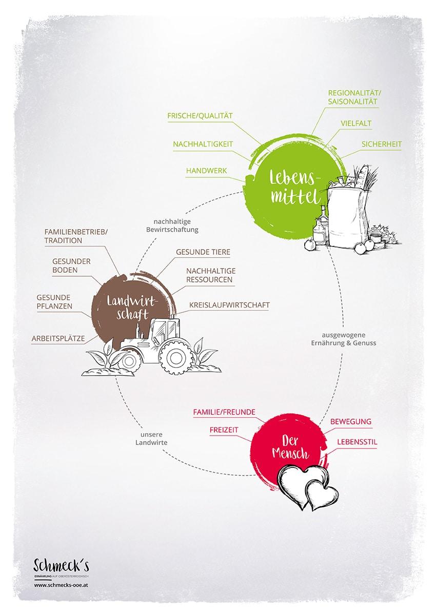 Eine Infografik zum Kreislauf und den Wechselwirkungen zwischen dem Menschen, unseren Lebensmitteln und der Landwirtschaft