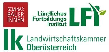 Logos der Landwirtschaftskammer Oberösterreich, des LFi und der Seminarbäuerinnen