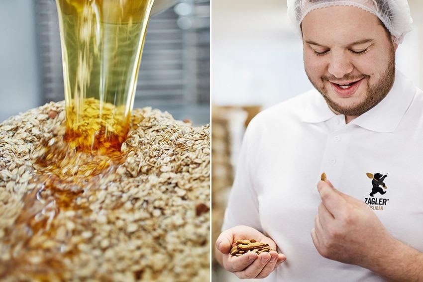 links: Flocken werden mit Honig vermischt, rechts: Florian Zagler - Zagler Müslibär
